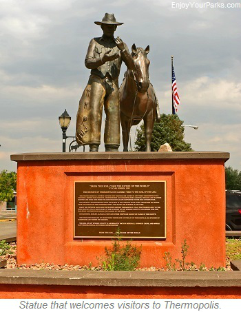Statue welcoming visitors, Thermopolis Wyoming