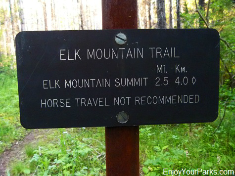 Elk Mountain Trail sign, Glacier National Park