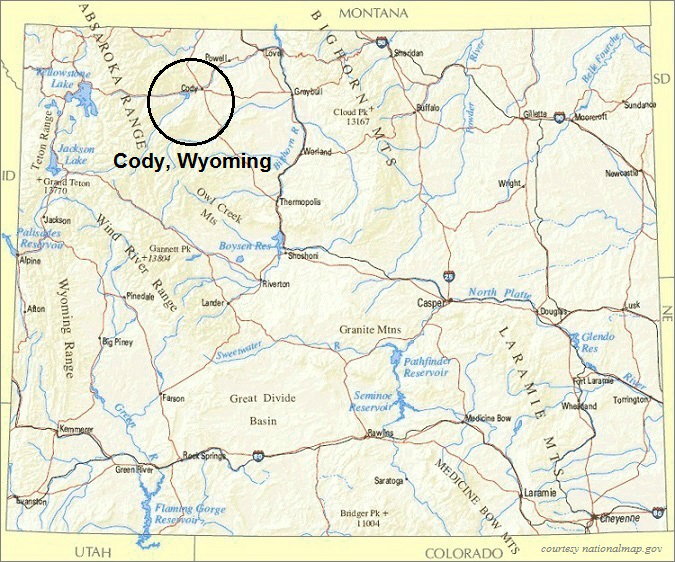 Wyoming Map, Cody Wyoming