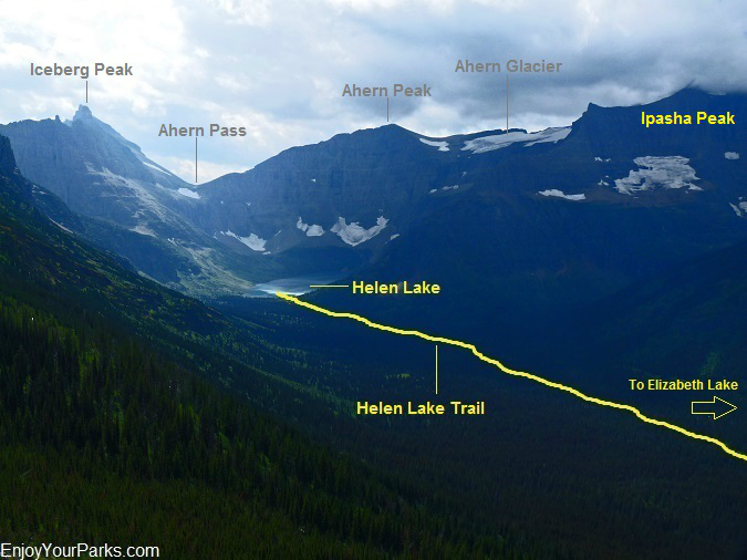 Helen Lake and Helen Lake Trail, Belly River Valley, Glacier National Park