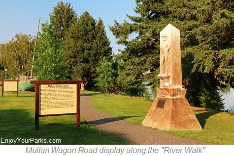 Mullen Wagon Road display along The River Walk, Fort Benton Montana