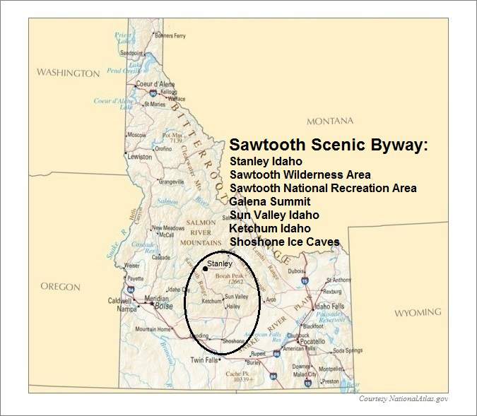 Idaho Map- Sawtooth Scenic Byway