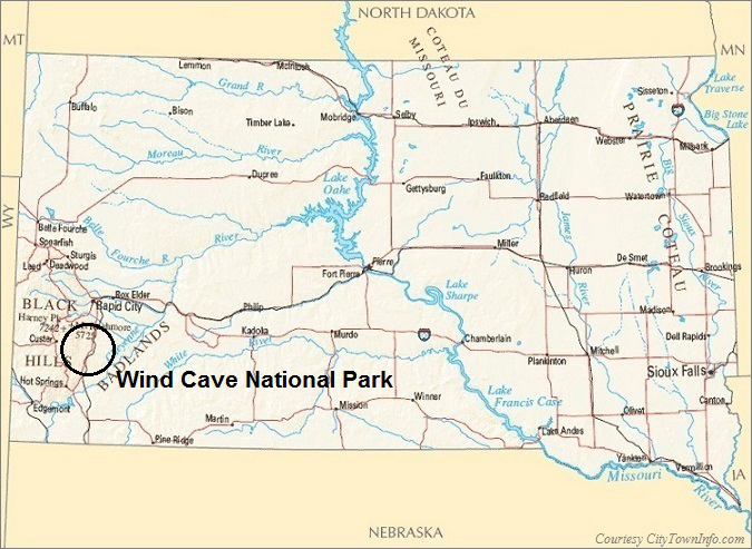 South Dakota Map- Wind Cave National Park