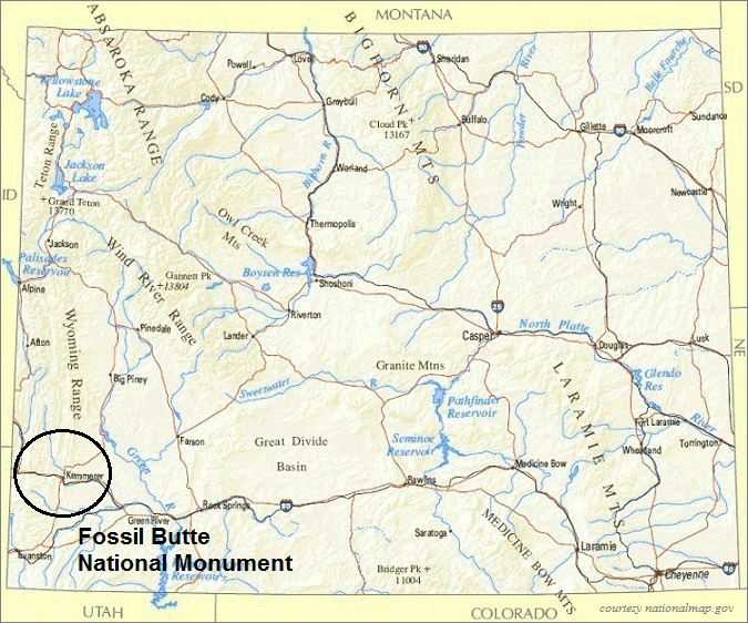 Wyoming Map, Fossil Butte National Monument
