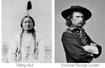 Sitting Bull and General George Custer, Little Bighorn Battlefield Montana