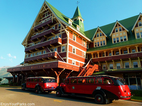 Red Buses in front of the Prince of Wales Hotel, Waterton Lakes National Park