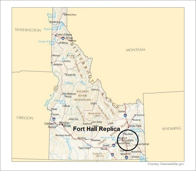 Idaho Map, Fort Hall Replica