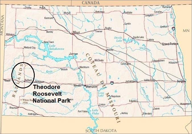 North Dakota Map, Theodore Roosevelt National Park