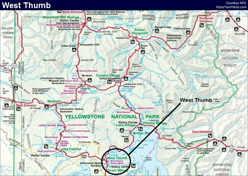 West Thumb Map, Yellowstone National Park Map