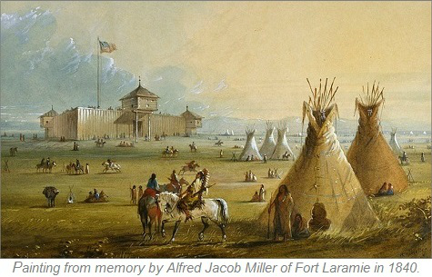 Alfred Jacob Painting, Fort Laramie 1840