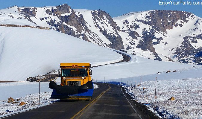 Snow plow on Beartooth Highway Montana