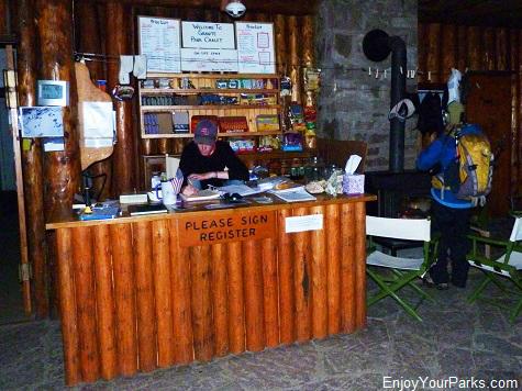 Granite Park Chalet registration desk, Glacier National Park
