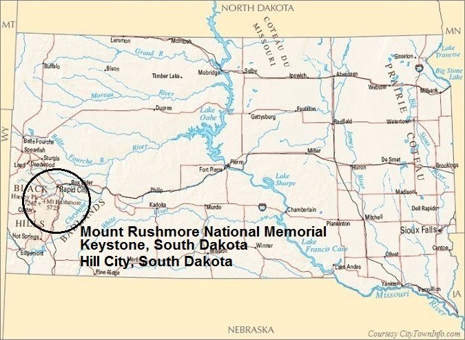 South Dakota Map: Mount Rushmore National Memorial