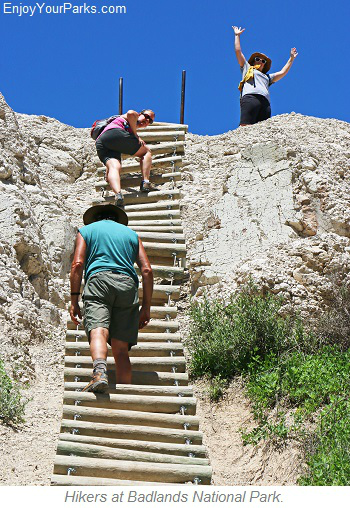 Hikers at Badlands National Park, South Dakota