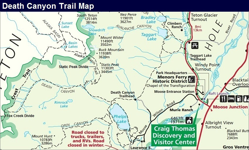 Death Canyon Trail Map, Grand Teton Map