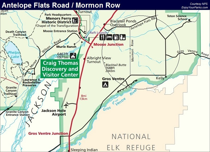 Antelope Flats Road and Mormon Row, Grand Teton National Park Map
