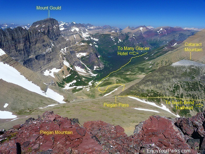 View of Piegan Pass from the summit of Piegan Mountain in Glacier Park