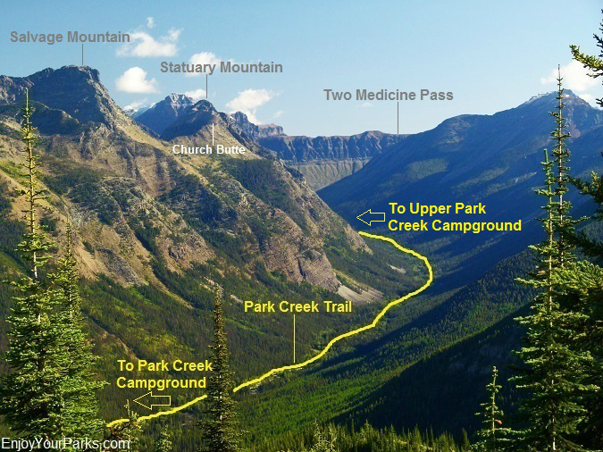 Park Creek Trail as viewed from Scalplock Mountain, Glacier National Park