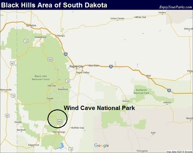 Black Hills South Dakota Map- Wind Cave National Park