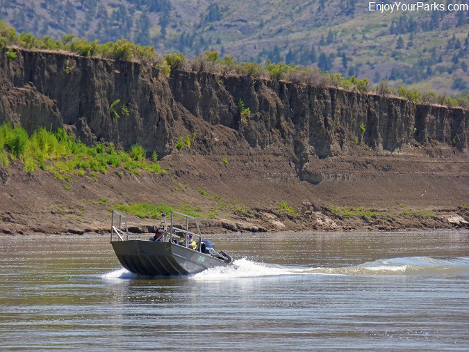 Fishermen running up the Missouri River, Charles M. Russell National Wildlife Refuge, Montana