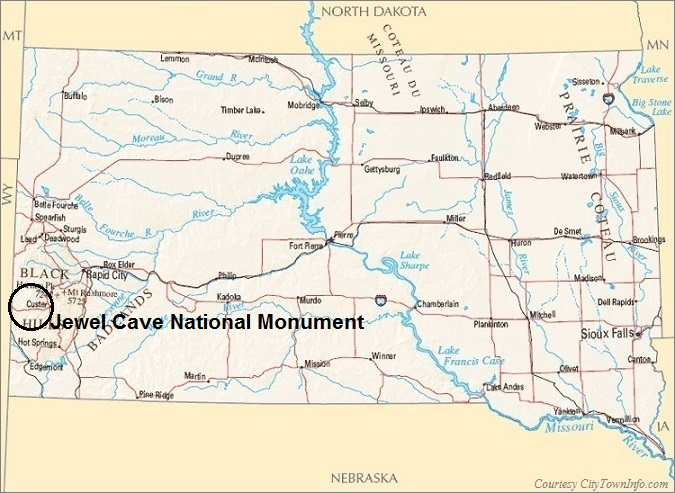 South Dakota Map- Jewel Cave National Monument