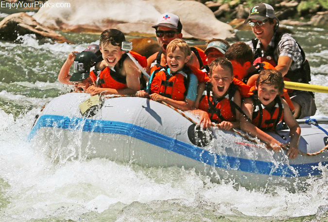 White water rafters on the Salmon River in Idaho