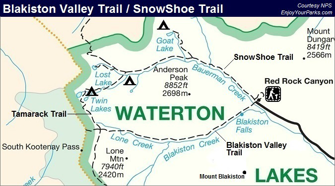 Blakiston Valley Trail Map, SnowShoe Trail Map, Waterton Lakes National Park