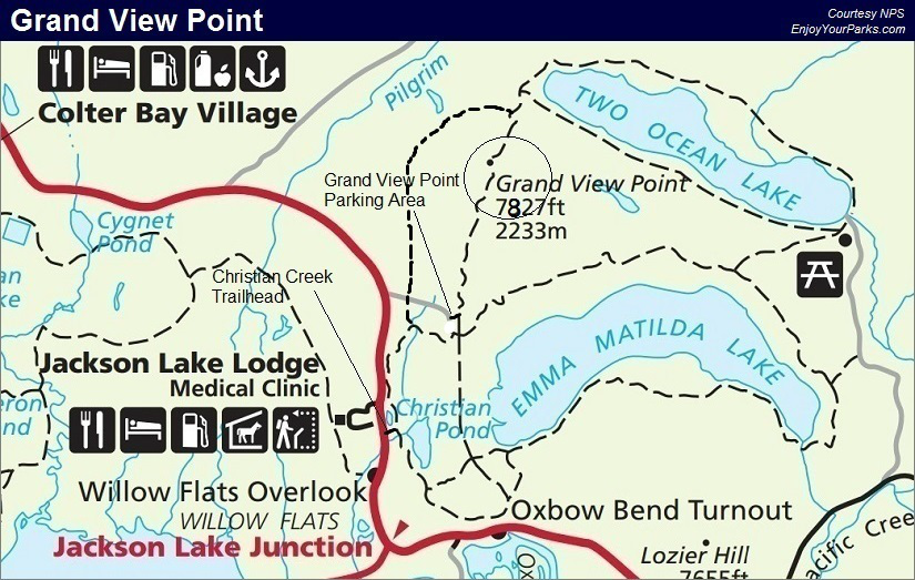 Grand View Point Trail Map, Grand Teton National Park Map