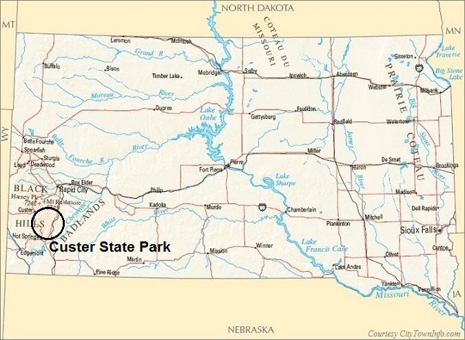 South Dakota Map- Custer State Park