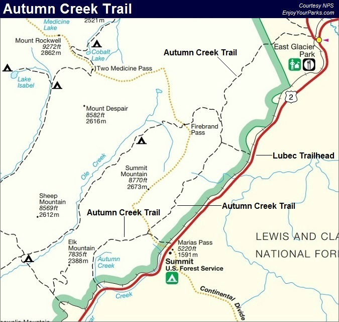 Autumn Creek Trail Map, Glacier National Park Map