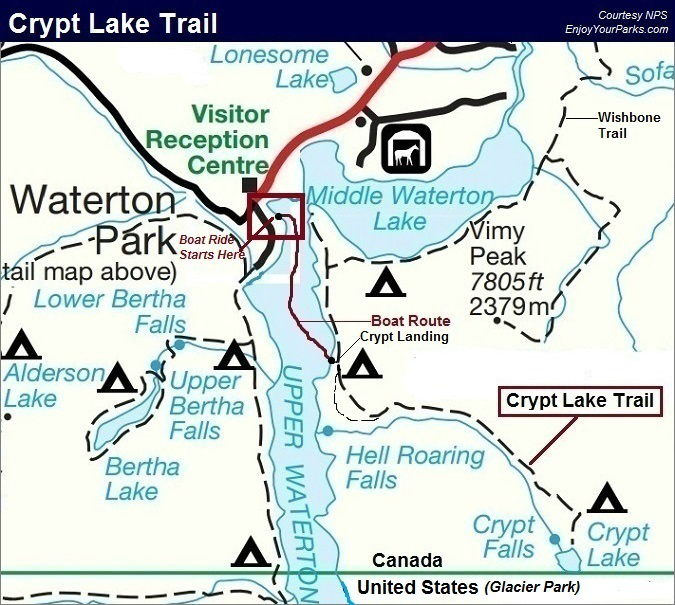 Crypt Lake Trail Map, Waterton Lakes National Park Map