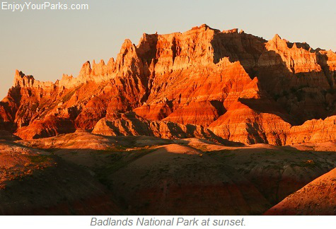Badlands National Park sunset, South Dakota