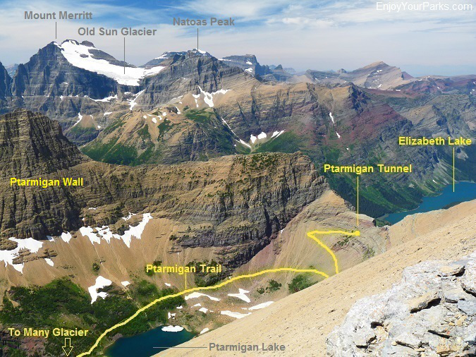 Ptarmigan Trail as viewed from the summit of Crowfeet Mountain, Glacier National Park