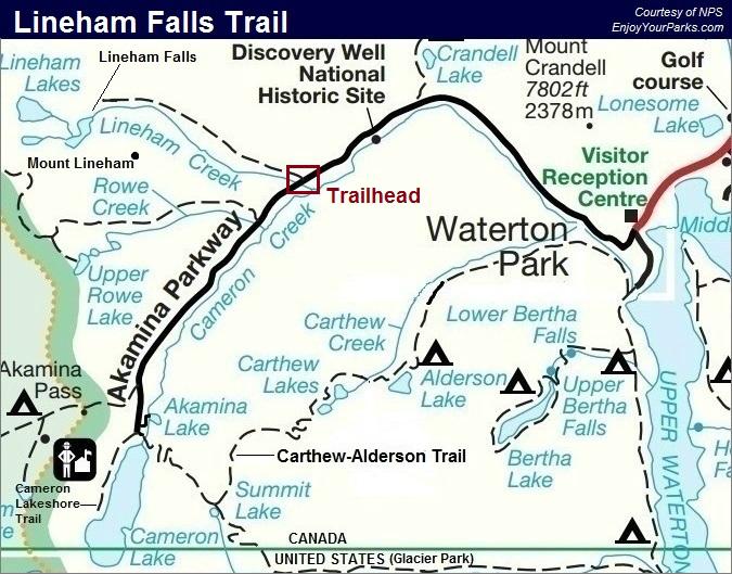 Lineham Falls Trail Map, Waterton Lakes National Park