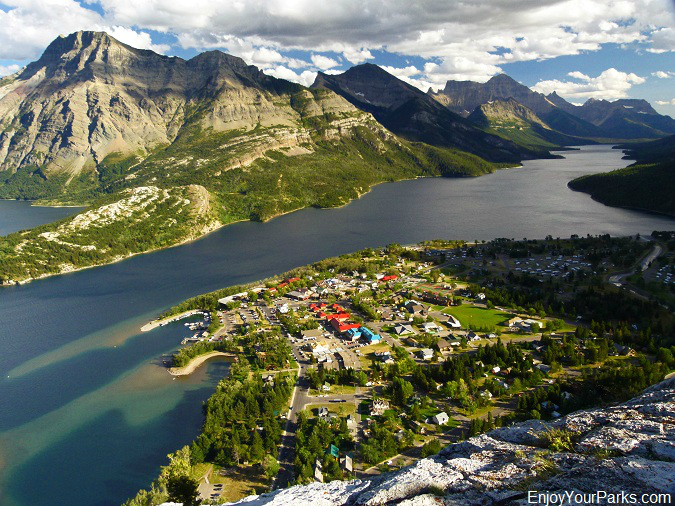 View of Waterton Park Townsite and the Waterton Valley from The Bear's Hump, Waterton Lakes National Park