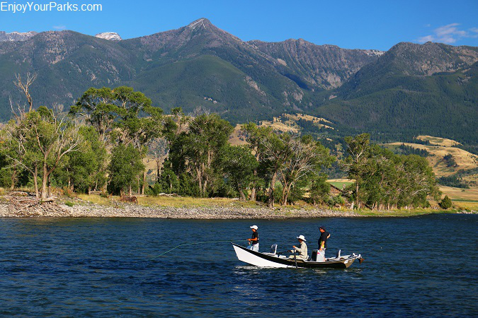 Fly fishermen on the Yellowstone River in Paradise Valley Montana.