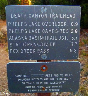 Death Canyon trail sign, Grand Teton National Park