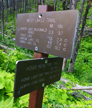 Howe Ridge Trail Junction, Trout Lake Trail, Glacier National Park