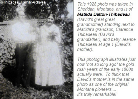 Matilda Dalton Thibadeau, Clarence Thibadeau and Jeanne Thibadeau, Sheridan Montana 1928