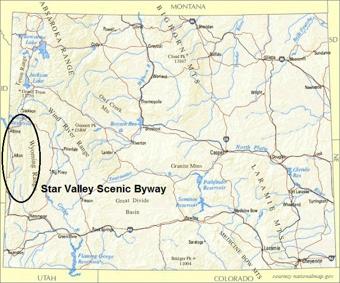 Wyoming Map, Star Valley Scenic Byway Wyoming