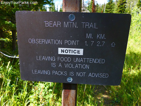 Bear Mountain Trail Sign, Glacier National Park