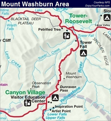 Mount Washburn Map, Yellowstone National Park Map