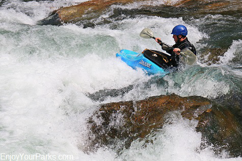White water kayaker in the Gallatin River Canyon Montana