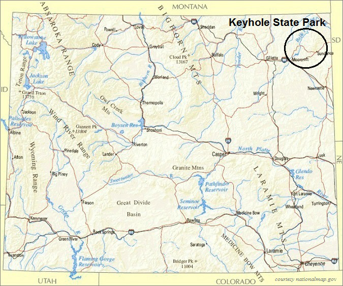 Wyoming Map, Keyhole State Park