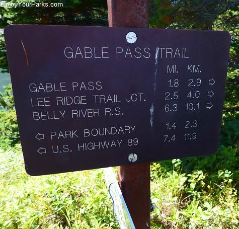 Gable Pass Trail sign, Glacier National Park