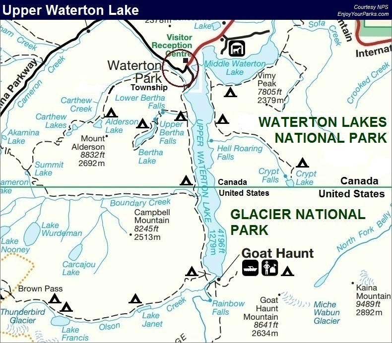 Upper Waterton Lake Map, Waterton Lakes National Park Map, Glacier National Park Map