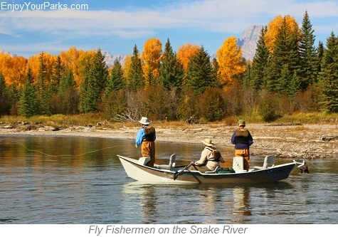 Fly Fishermen on the Snake River, Wyoming
