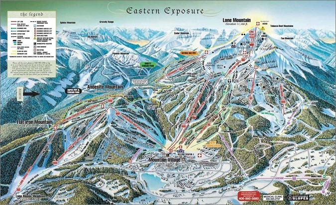 Big Sky Resort Montana, Eastern Exposure Trail Map