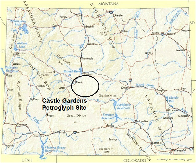 Wyoming Map, Castle Gardens Petroglyph Site