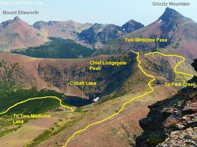 Two Medicine Pass as viewed from Mount Rockwell, Glacier National Park